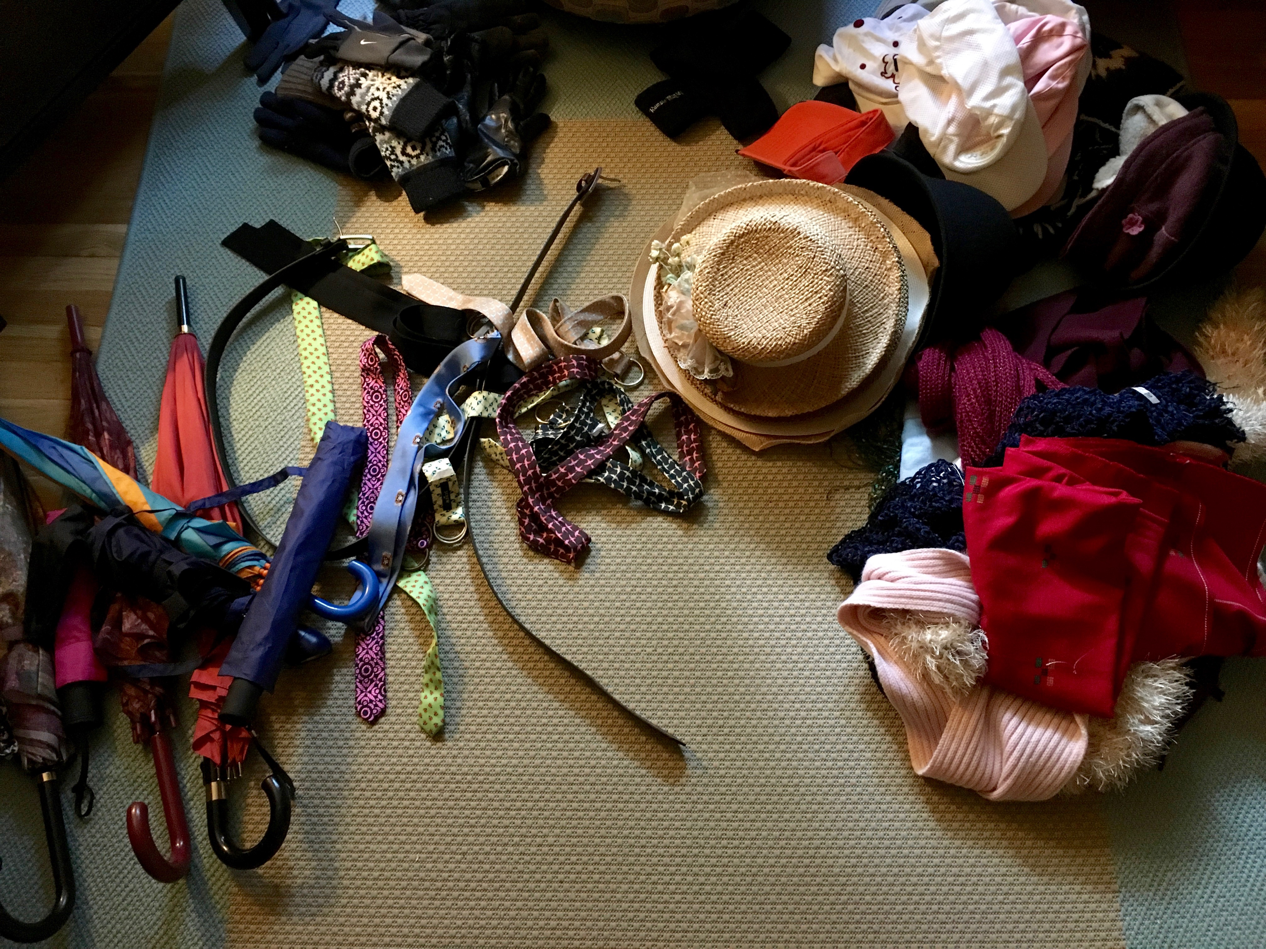 konmari clothing category subcategory hats and accessories before