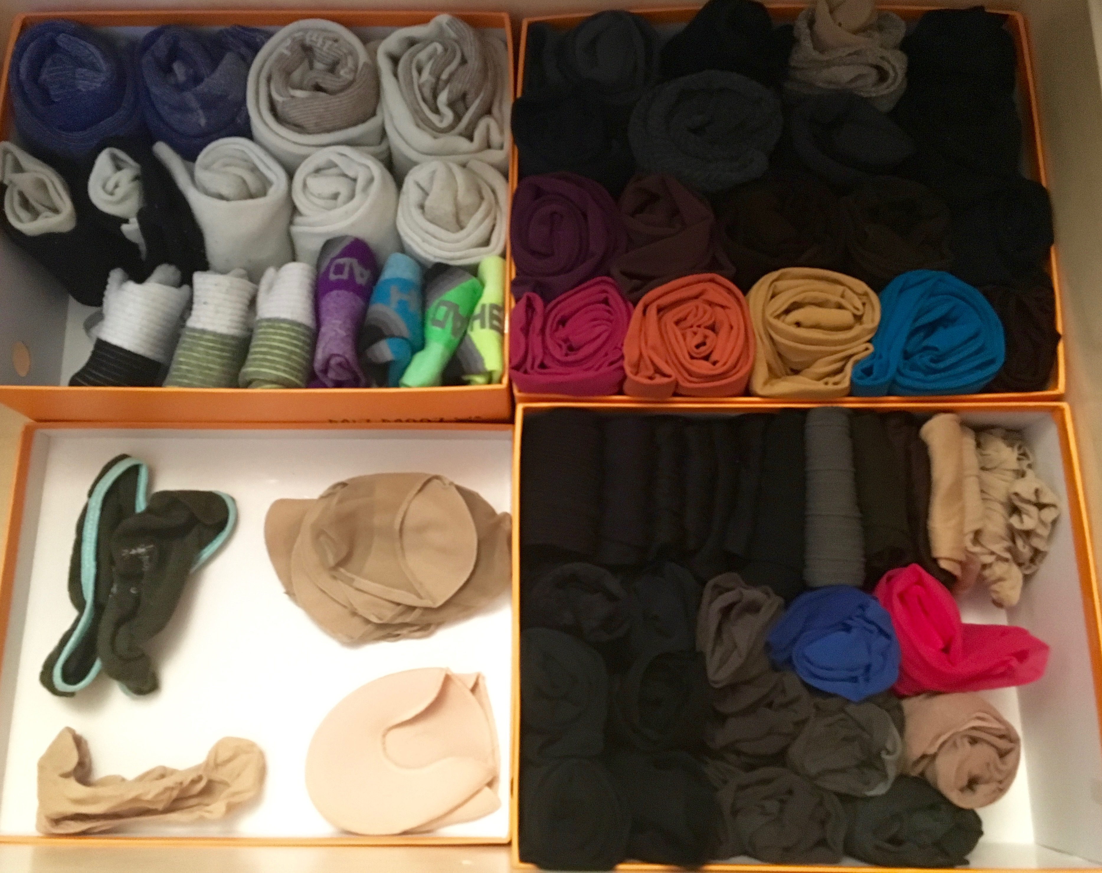 konmari clothing category subcategory socks in drawer