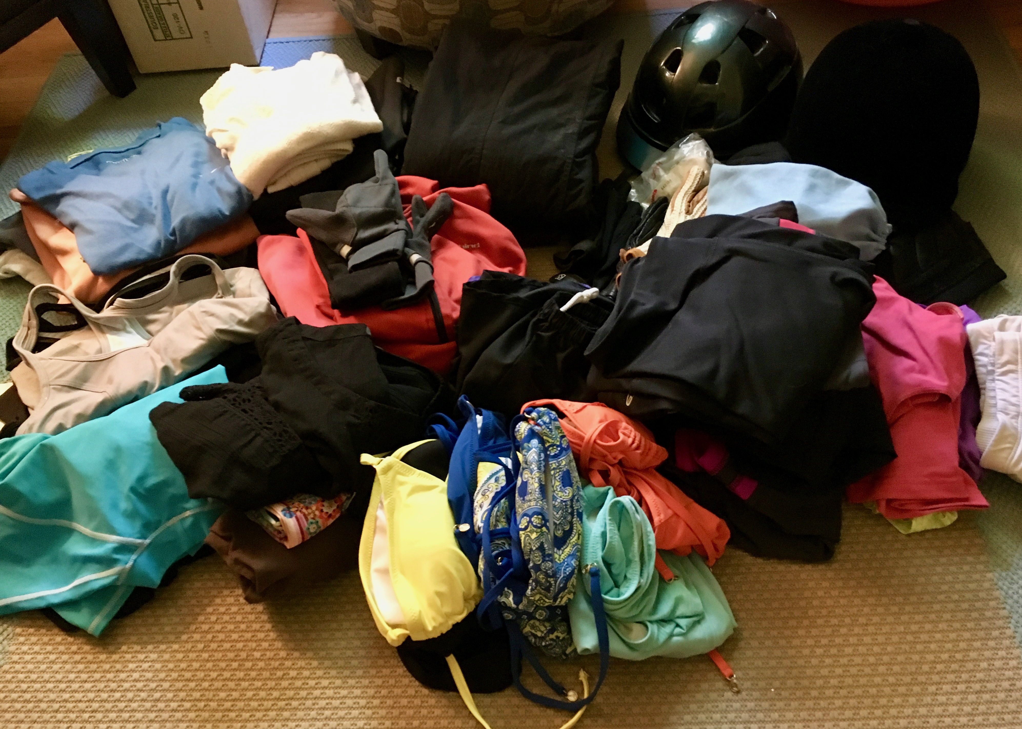 konmari clothing category subcategory sportswear after