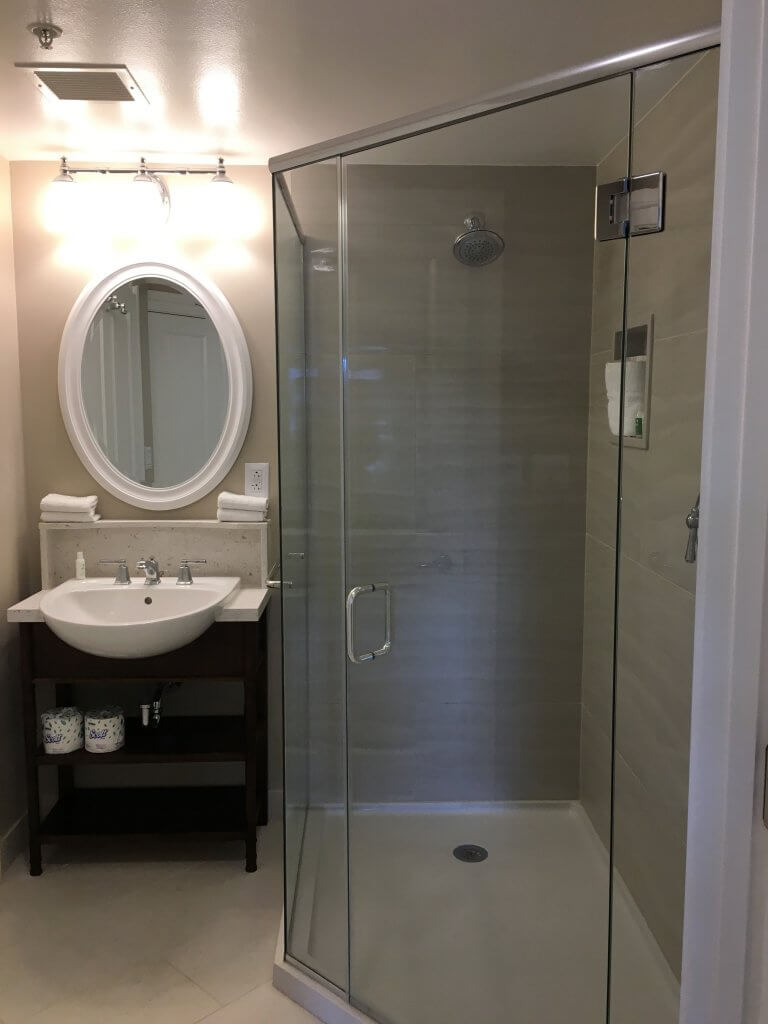 DVC BCV: So much to love about our one bedroom villa at Disney's Beach Club Resort shower with vanity