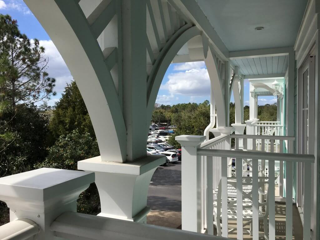 One bedroom villa at Disney's Beach Club Resort balcony view of DVC villas parking lot