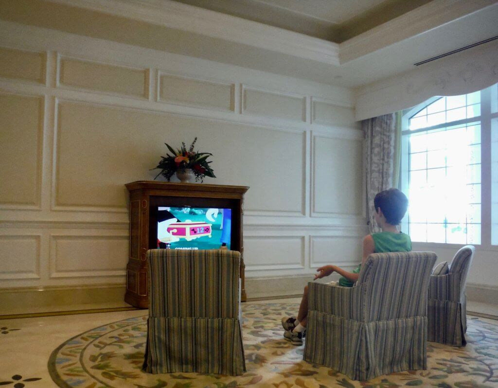 Children's seating area with television