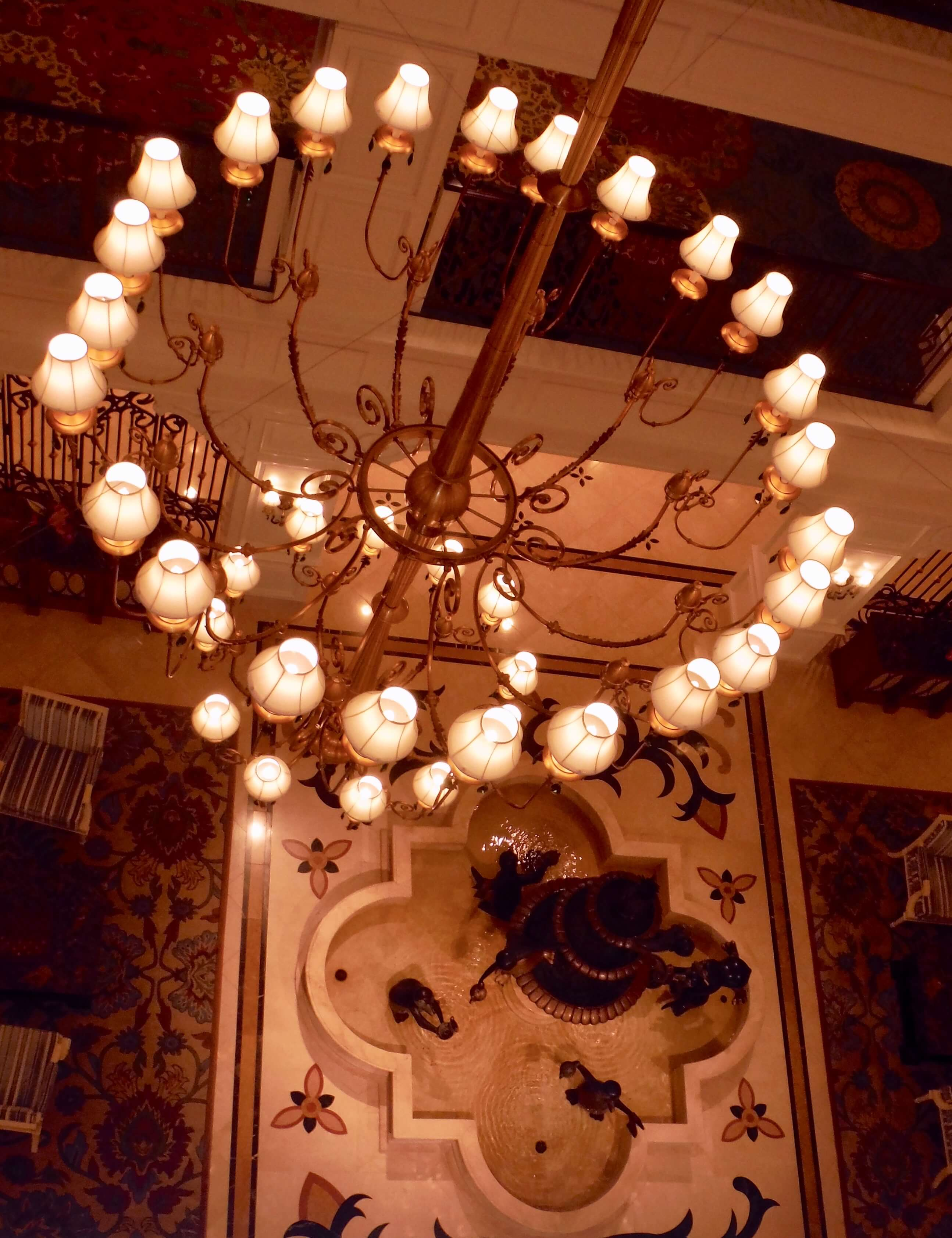 DVC GFV lobby chandelier fountain aerial