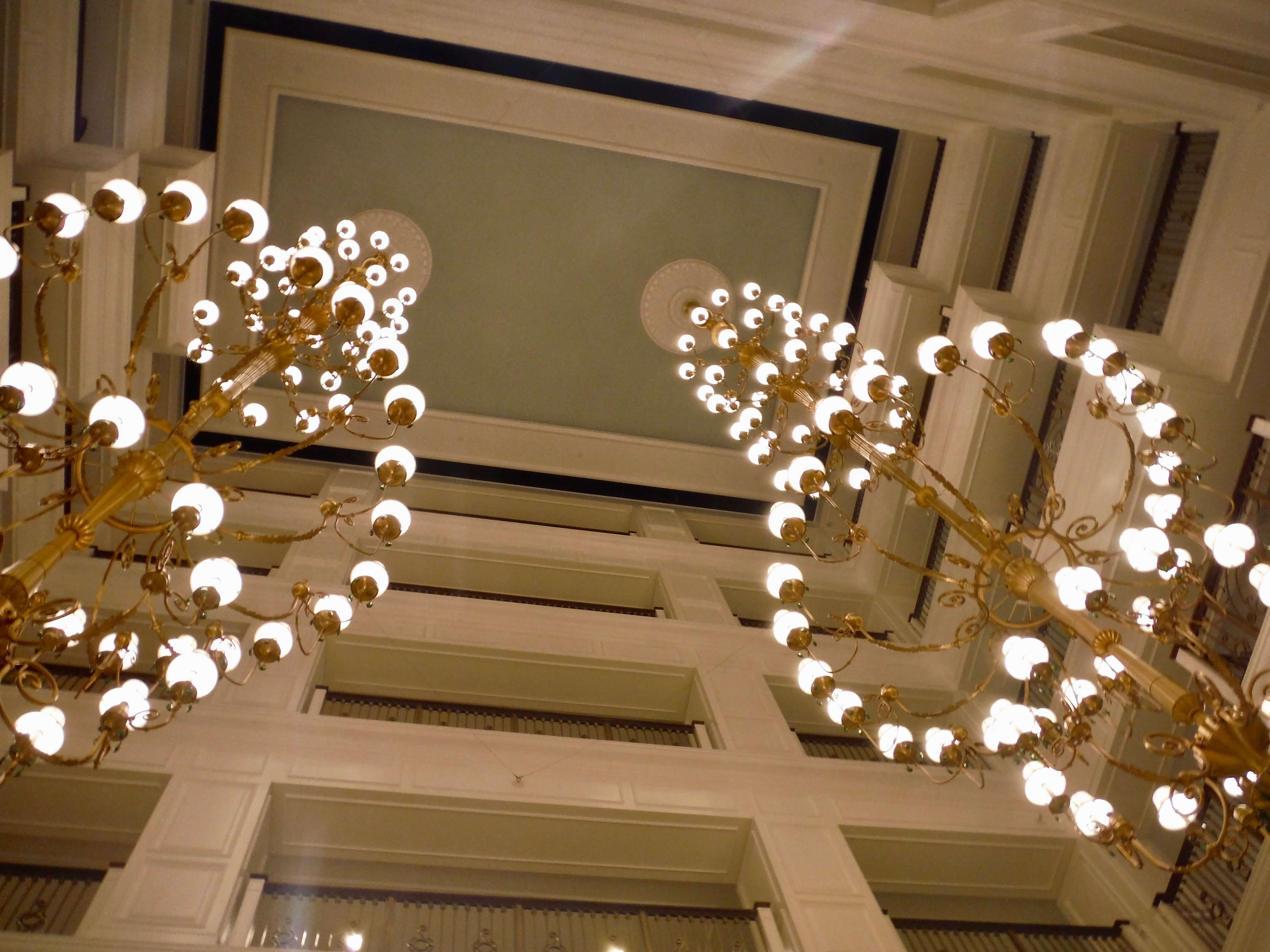 DVC GFV lobby chandeliers looking up