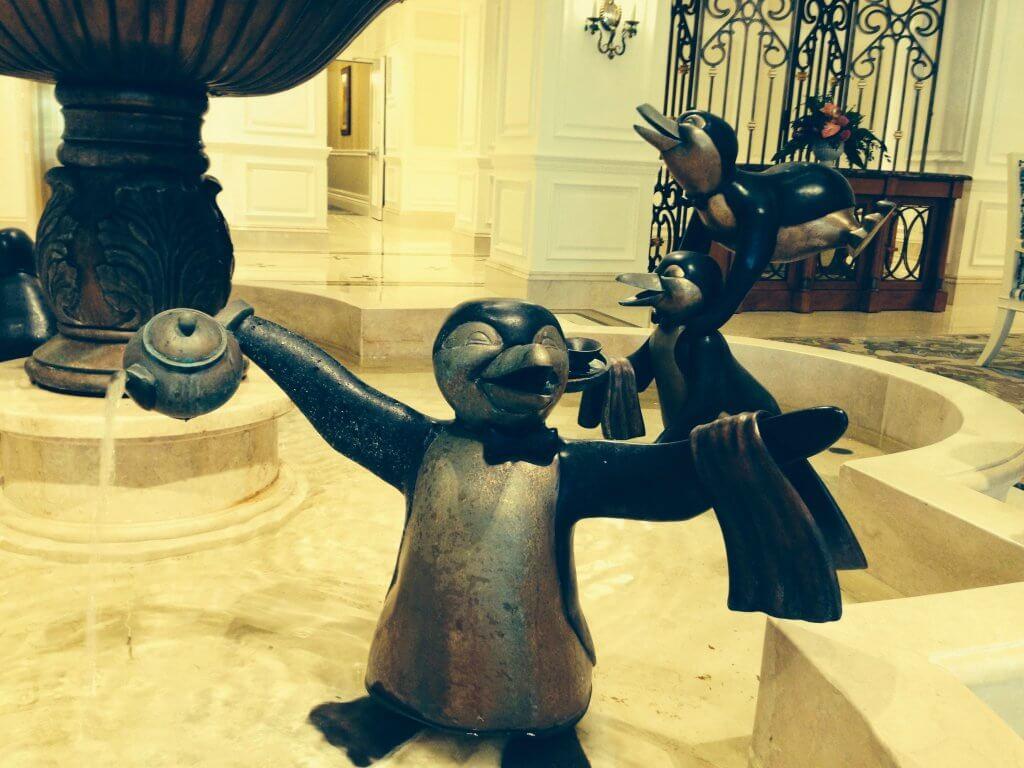 lobby fountain penguin