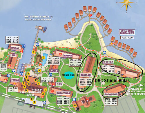 Map of Disney's Polynesian Resort with DVC longhouses circled
