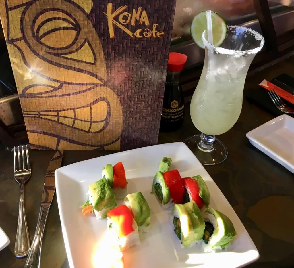 kona cafe sushi with beverage